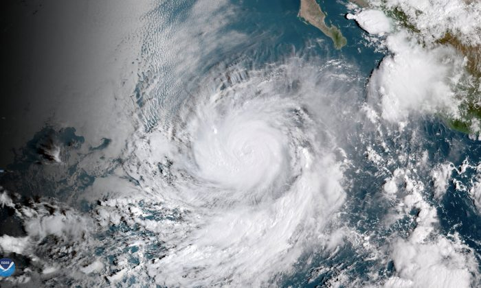 Hurricane Rosa is shown from a National Oceanic and Atmospheric (NOAA) GOES East satelite over the eastern Pacific Ocean on Sept. 27, 2018. (NOAA/Handout via Reuters)