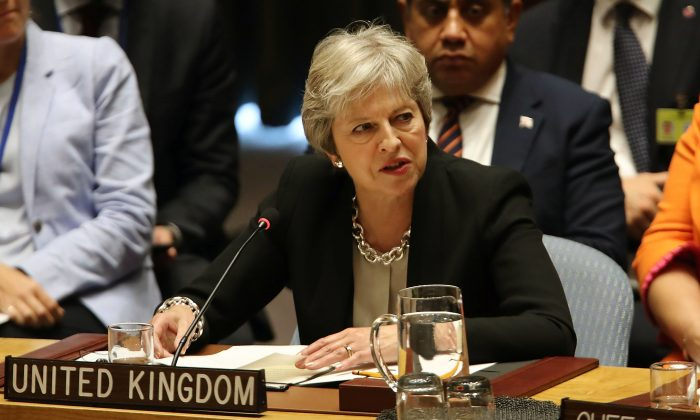 British Prime Minister Theresa May speaks during a United Nations Security Council meeting in New York City on Sept. 26, 2018.(Spencer Platt/Getty Images)