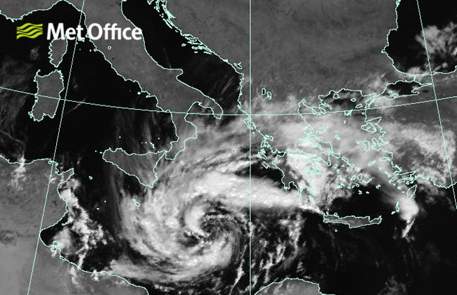 A Met office satellite image shows the unusual medicane hurricane-like storm system as it hits the Greek coast on Sept. 29, 2018. (Met Office)