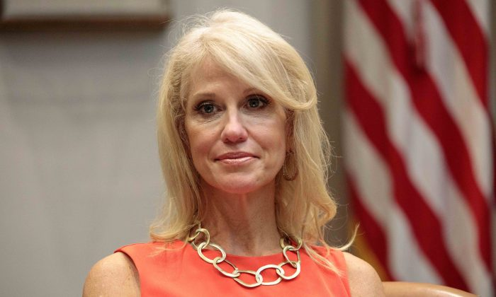 Senior Counselor to the President Kellyanne Conway looks on as President Donald Trump announces a grant for a drug-free communities support program, in the Roosevelt Room of the White House in Washington on Aug. 29, 2018. (Samira Bouaou/The Epoch Times)