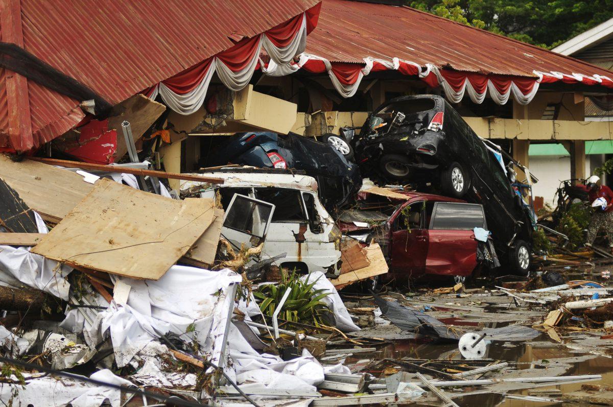 Damage from earthquake and tsunami
