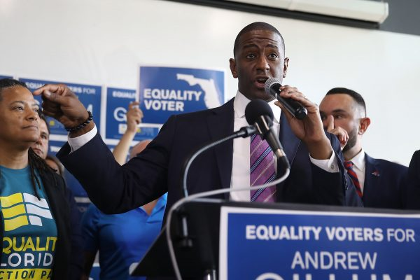 Democratic Florida gubernatorial nominee Andrew Gillum speaks at a campaign rally in Miami