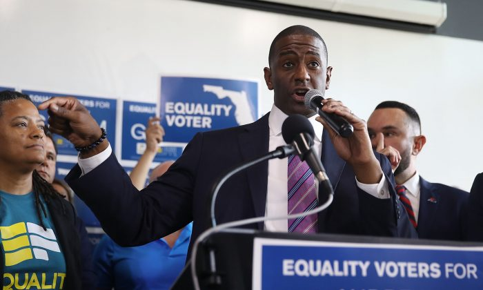 Democratic Florida gubernatorial nominee Andrew Gillum speaks at a campaign rally in Miami, Fla., on Sept. 24, 2018. (Joe Raedle/Getty Images)