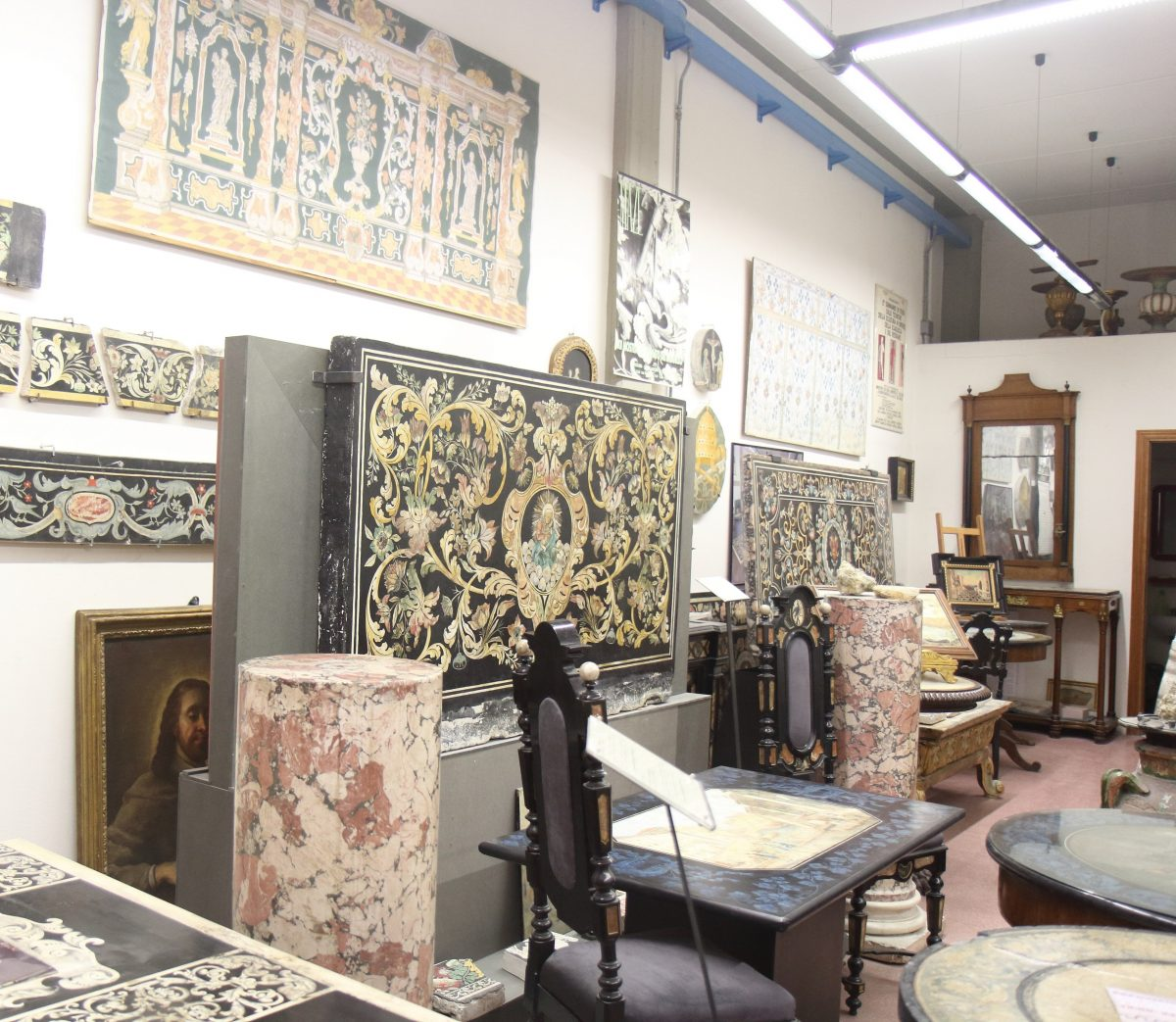 Historic scagliola pieces, Florence.