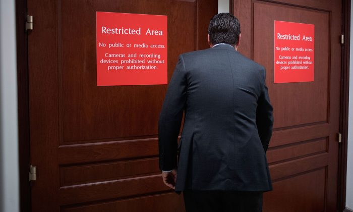 House Intelligence Committee Chairman Devin Nunes (R-Calif.) arrives at the committee's secure offices in the basement of the U.S. Capitol House Visitors Center on Feb. 6, 2018. (Mark Wilson/Getty Images)