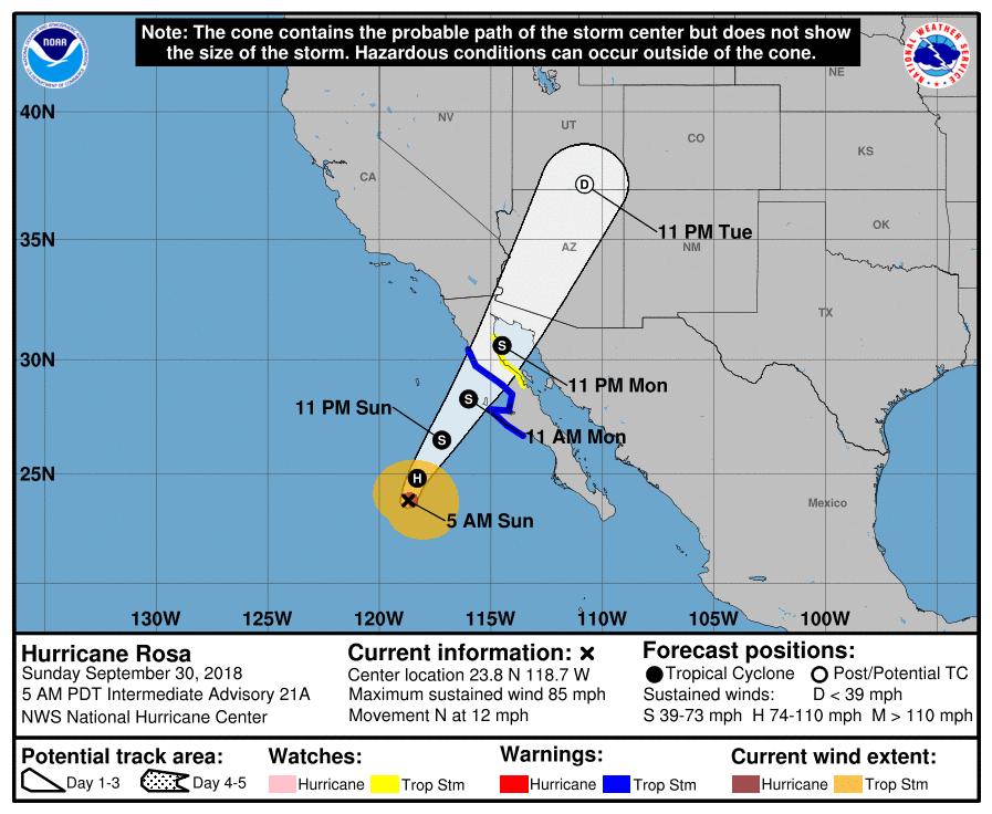 hurricane rosa's path to arizona and US
