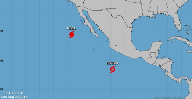 tropical storm sergio in the pacific ocean