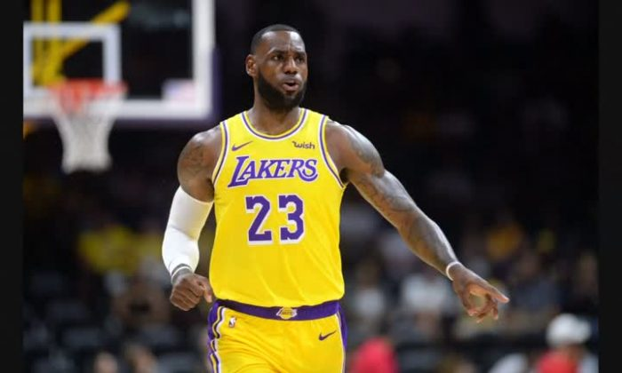 LeBron joined Lakers and played against Denver Nuggets in San Diego on Sept. 30, 2018. (Courtesy USA Today Sports Images)