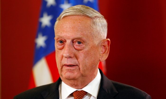 U.S. Secretary of Defense James Mattis attends a news conference in Skopje, Macedonia on Sept. 17, 2018. (Ognen Teofilovski/Reuters)