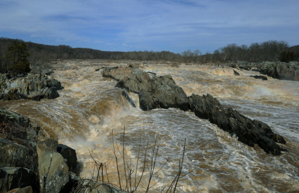 Water rushes through Great Falls on the Potomac River in Great Falls Park in Virginia, in a March 3, 2012 file photo. (KAREN BLEIER/AFP/Getty Images)