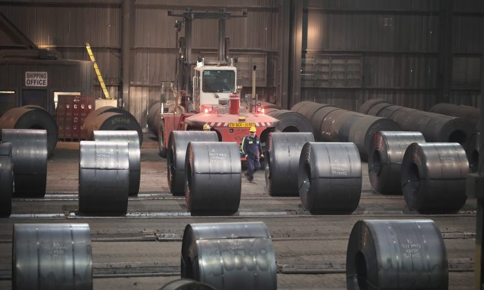 Steel coils produced at the NLMK Indiana steel mill in Portage, Ind., on March 15, 2018. (Scott Olson/File Photo via Getty Images)