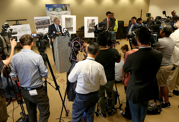 Mark Zabaneh, executive director of the Transbay Joint Powers Authority, (TJPA) during a press conference at their office in San Francisco, on Wednesday, Sept. 26, 2018. The new Salesforce Transit Center was closed Oct. 1, after cracks were discovered in steel supporting beams. (Jane Tyska/Digital First Media/The Mercury News via Getty Images)