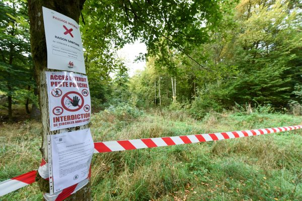 A quarantine zone in Etalle, Luxembourg province, Belgium.