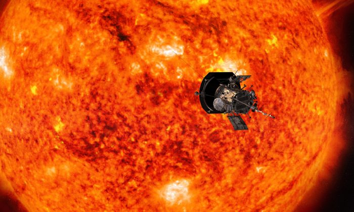 This illustration from NASA shows the Parker Solar Probe spacecraft approaching the sun. Launched in August 2018, the spacecraft will get a gravity assist on Oct. 3, 2018, as it passes within 1,500 miles of Venus. The flyby is the first of seven that will draw Parker ever closer to the sun. (Steve Gribben//NASA via AP)