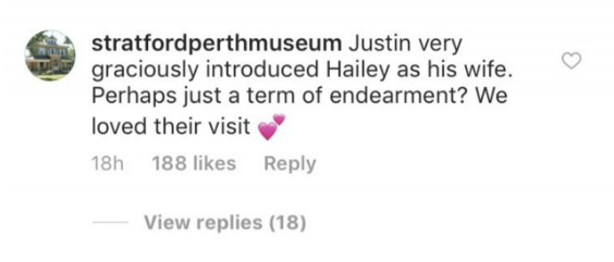 Screenshot of Stratford Perth Museum's Instagram comment that was later deleted.