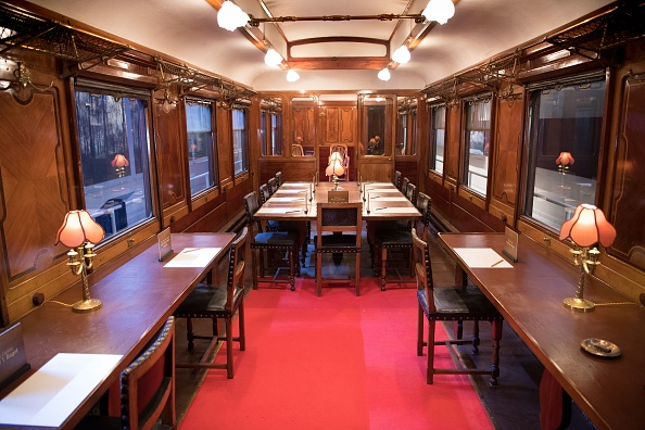 A view of the inside of the reconstructed Compiegne Wagon, in which the Nov. 11, 1918 'Armistice of Compiegne' ending World War I (1914 - 1918) was signed between France and Germany is pictured on Oct. 22, 2018, at the Musee du Memorial de l'Armistice situated in the forest of Compiegne near Rethondes. (ERIC FEFERBERG/AFP/Getty Images)