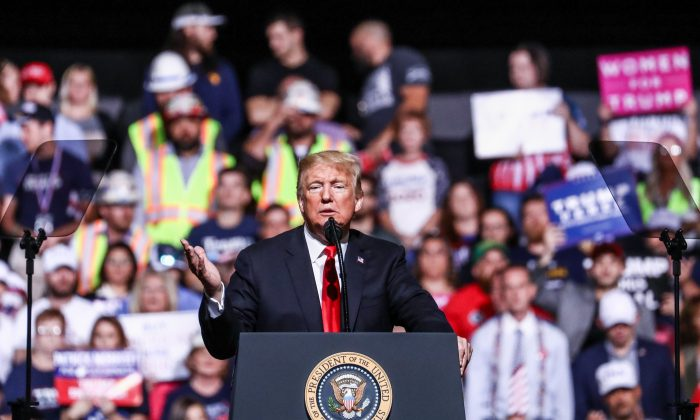 President Donald Trump at his Make America Great Again rally in Wheeling, West Va., on Sept. 29, 2018. (Charlotte Cuthbertson The Epoch Times)
