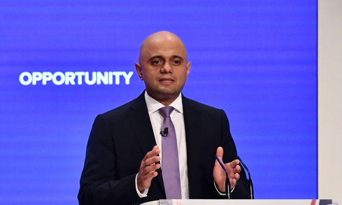 Britain's interior secretary Sajid Javid gives a speech on the third day of the Conservative Party Conference 2018 in Birmingham on Oct. 2, 2018. (Ben Stansall/AFP/Getty Images)
