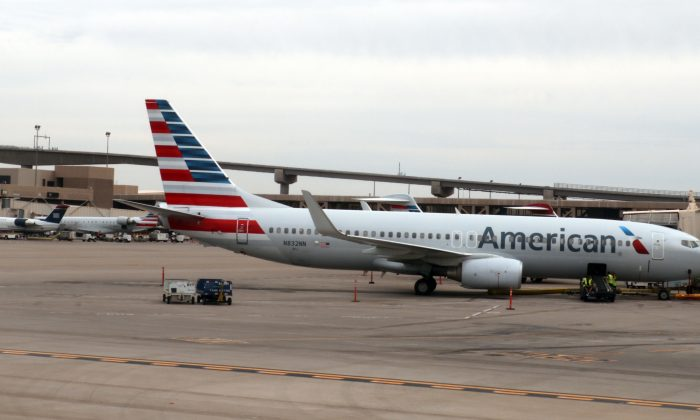 An American Airlines airline plane is seen on the tarmac at Phoenix Sky Harbor International Airport in Phoenix, Arizona, on Sept. 19, 2016. (Daniel Slim/AFP/Getty Images)