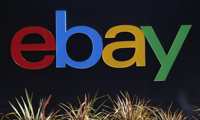 An eBay sign is seen at an office building in San Jose, California, on May 28, 2014. (Beck Diefenbach/Reuters)