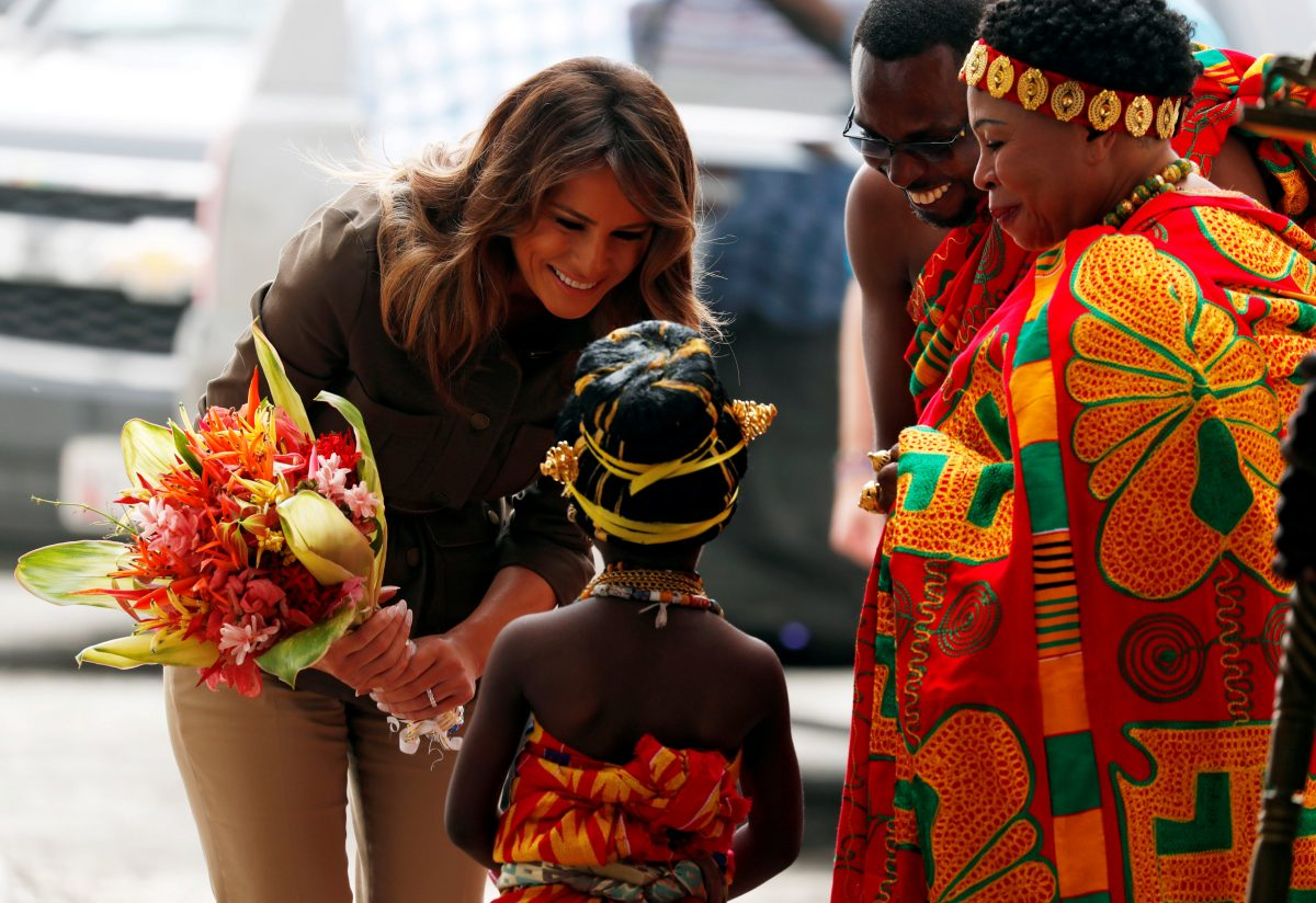 First lady Melania Trump greets a child