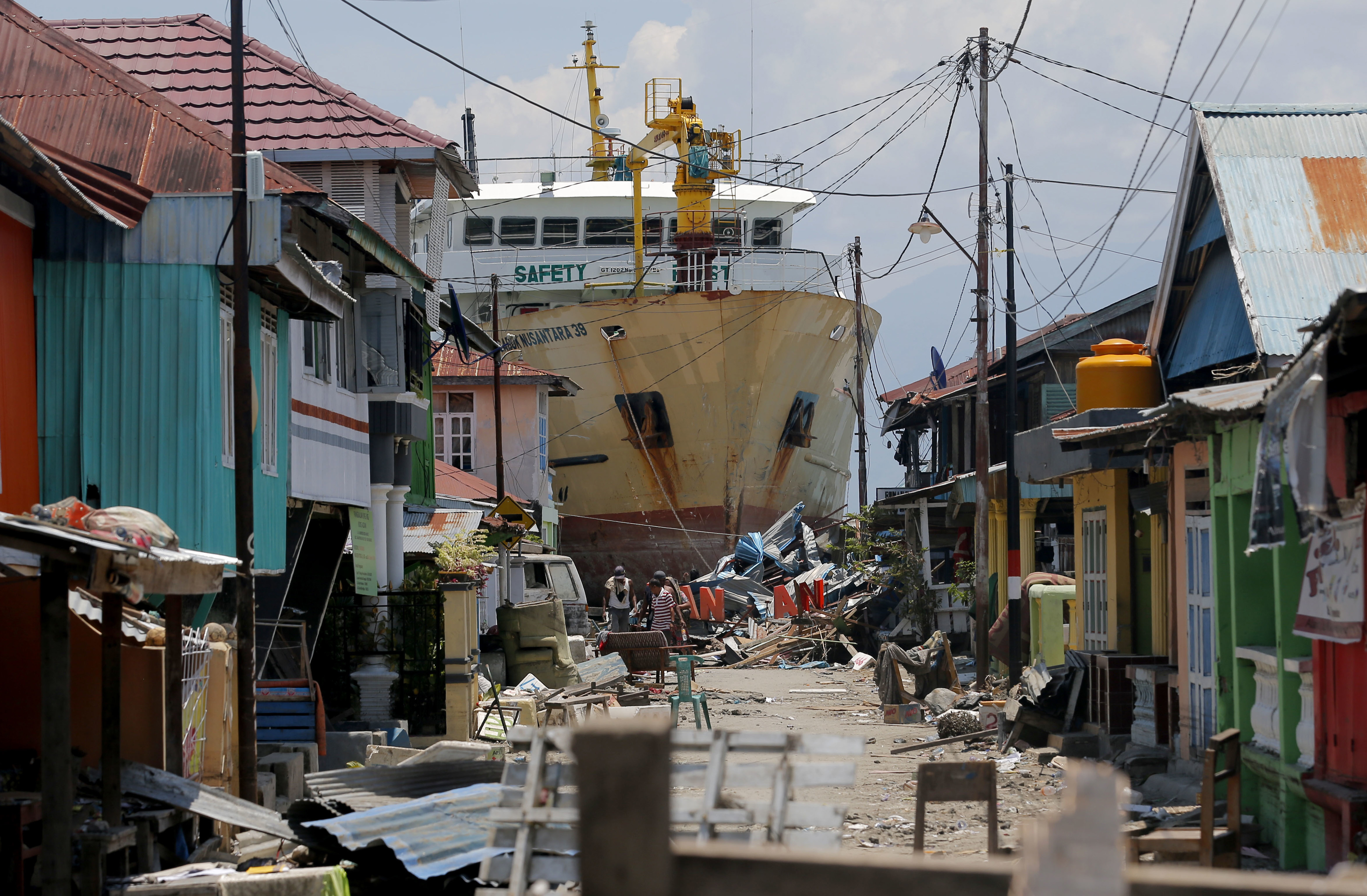Neighborhood in Donggala, Central Sulawesi, Indonesia after earthquke