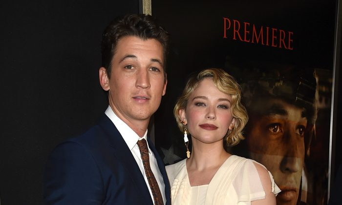 "Actors Miles Teller (L) and Haley Bennett arrive at the premiere of DreamWorks Pictures and Universal Pictures' ""Thank You For Your Service"" at the Regal LA Live Stadium 14 Theatres in Los Angeles, Calif. on Oct. 23, 2017.  (Kevin Winter/Getty Images)"