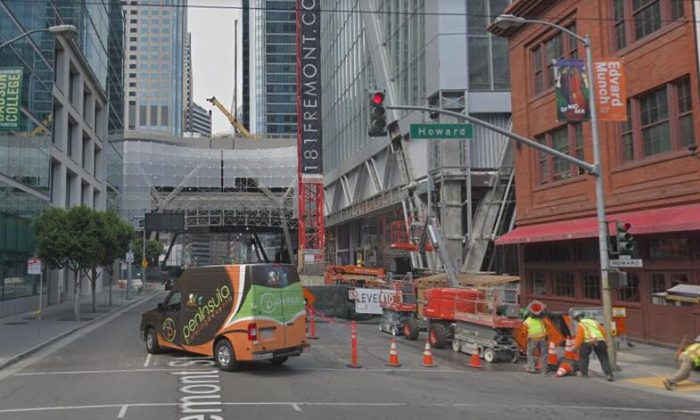 Installing temporary shoring along the closed part of Fremont Street. (Map data @2018 Google)