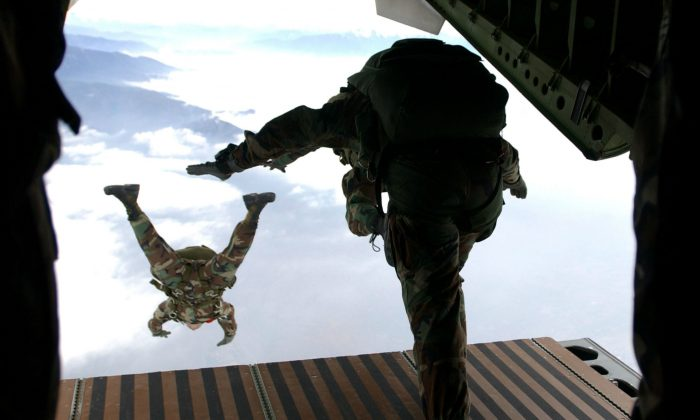 Members of the Headquarters Support Company 3rd Bn, 7th Special Forces Group (Airborne) at Ft. Bragg, North Carolina, participate in a High Altitude/Low Opening jump from a Chilean C-255 aircraft. Making sure you have people ready to step up to the challenge of leadership is important in any organization, not just the Army. (Staff Sgt. Cherie A. Thurlby/USAF/Getty Images)