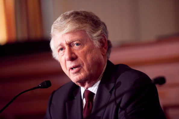 Journalist Ted Koppel speaks in a 2009 file photo. In an appearance at the National Press Club, Koppel said news agencies and networks benefit financially from wall-to-wall coverage of President Donald Trump, in Washington, on Oct. 1, 2018. (Photo by Brendan Hoffman/Getty Images)