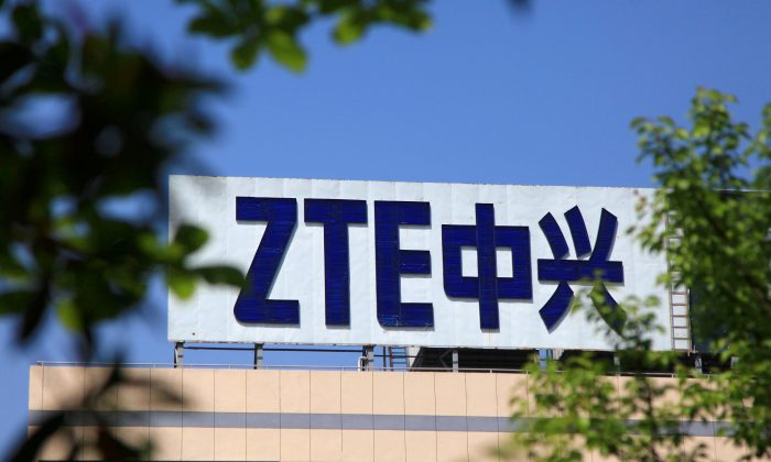 The logo of China's ZTE Corp is seen on a building in Nanjing, Jiangsu Province, China on April 19, 2018. (Stringer/Reuters)