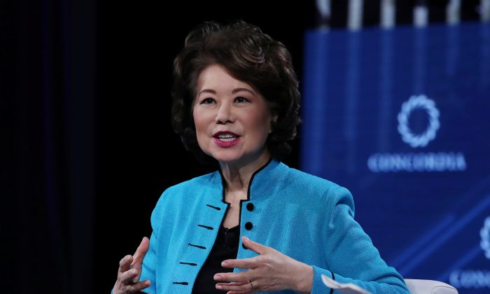 Transportation Secretary Elaine Chao speaks at the Concordia Summit in Manhattan, New York, September 24, 2018.       Shannon Stapleton/Reuters