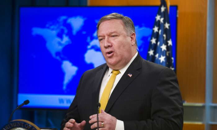 Secretary of State Mike Pompeo briefs reporters at the State Department in Washington D.C. on Oct. 3, 2018. (Cliff Owen/AP)
