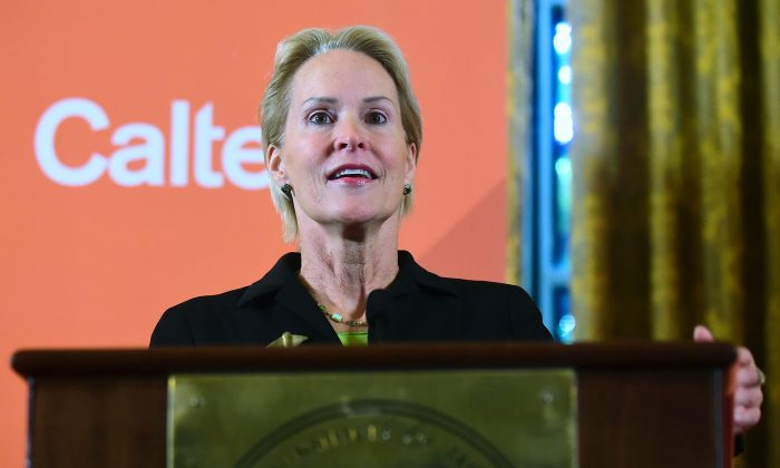 Scientist and Nobel Prize winner Frances Arnold speaks at Caltech in Pasadena, California, during a press conference on October 3, 2018. (Frederic J. Brown/Getty Images)