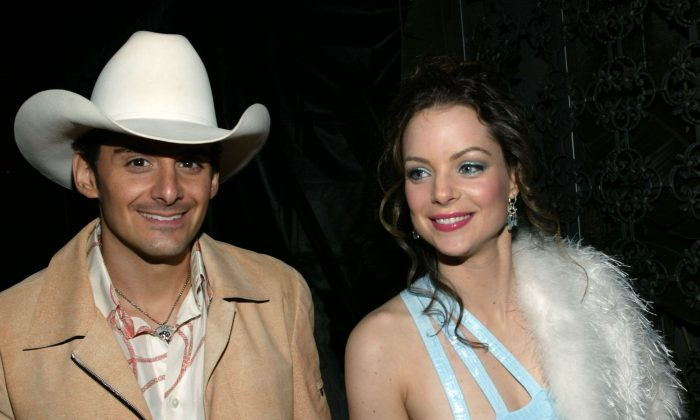 Brad Paisley and wife Kimberly attend the post Grammy William Morris party in Hollywood on Feb. 8, 2004. (Frederick M. Brown/Getty Images)