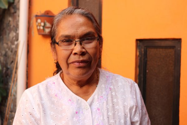 Claudia Urbán, a firework shop owner, outside her home in Tultepec, Mexico.