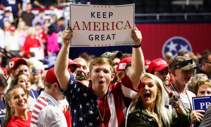 Attendees at a Make America Great Again rally in Johnson City, Tenn., on Oct. 1, 2018. (Charlotte Cuthbertson/The Epoch Times)
