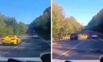 Dashcam Footage: Ferarri, Porsche Crash in Slovakia