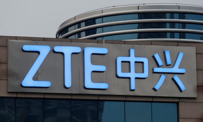 The logo of Chinese telecommunications equipment maker ZTE is seen outside the ZTE R&D building in Shenzhen, China on April 27, 2016. (Bobby Yip/Reuters)