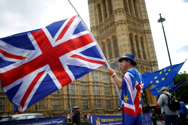Anti Brexit demonstrators union flags