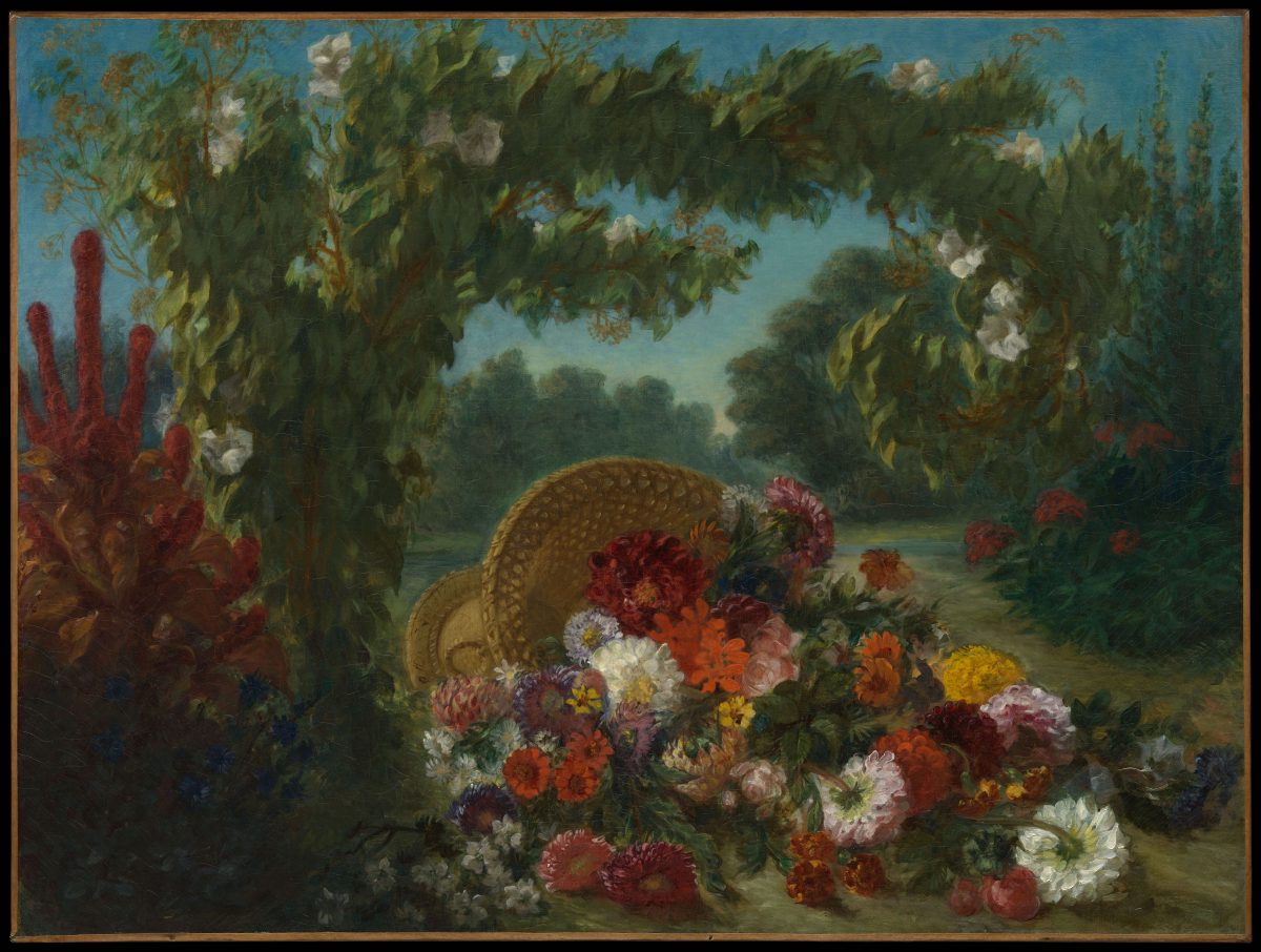 """Basket of Flowers,"" 1848–1849, by Eugène Delacroix (French, 1798–1863). Oil on canvas, 42 1/4 inches by 56 inches. The Metropolitan Museum of Art, Bequest of Miss Adelaide Milton de Groot (1876– 1967), 1967. (The Metropolitan Museum of Art)"