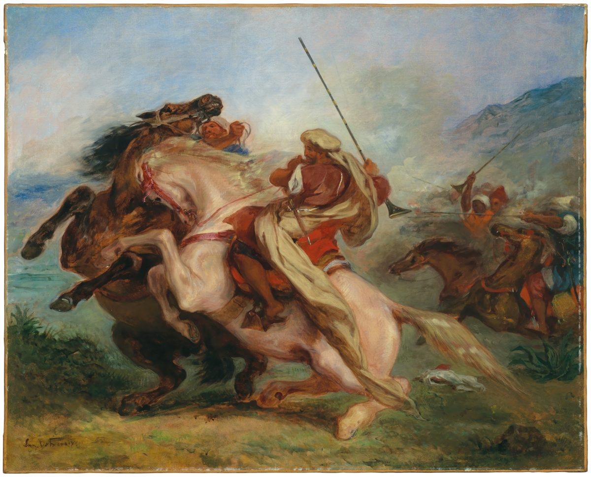 """Collision of Arab Horsemen,"" 1833/34, by Eugène Delacroix, (French, 1798–1863). Oil on canvas, 31 11/16 inches by 39 9/16 inches. Private collection. (Alex Jamison)"