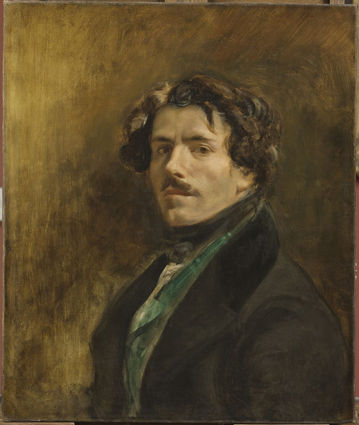 """""""Self-Portrait with Green Vest,"""" circa 1837, by Eugène Delacroix (French, 1798– 1863). Oil on canvas, 25 9/16 inches by 21 7/16 inches, Musée du Louvre, Paris. (RMN–Grand Palais Musée du Louvre/Michel Urtado)"""