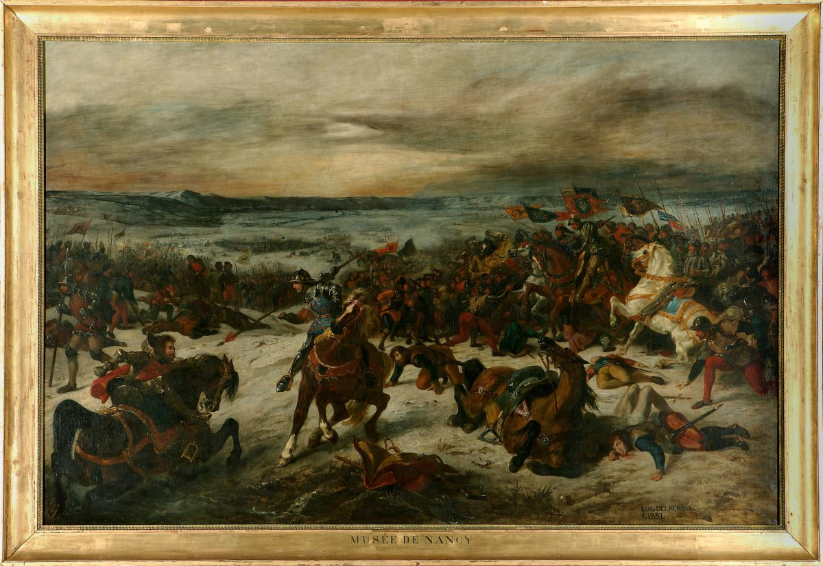"""The Battle of Nancy and the Death of Charles the Bold, Duke of Burgundy, January 5, 1477,"" 1831, by Eugène Delacroix, (French, 1798–1863). Oil on canvas, 93 5/16 inches by 11 feet 8 3/16 inches. Courtesy Musée des Beaux-Arts, Nancy (P. Mignot)"