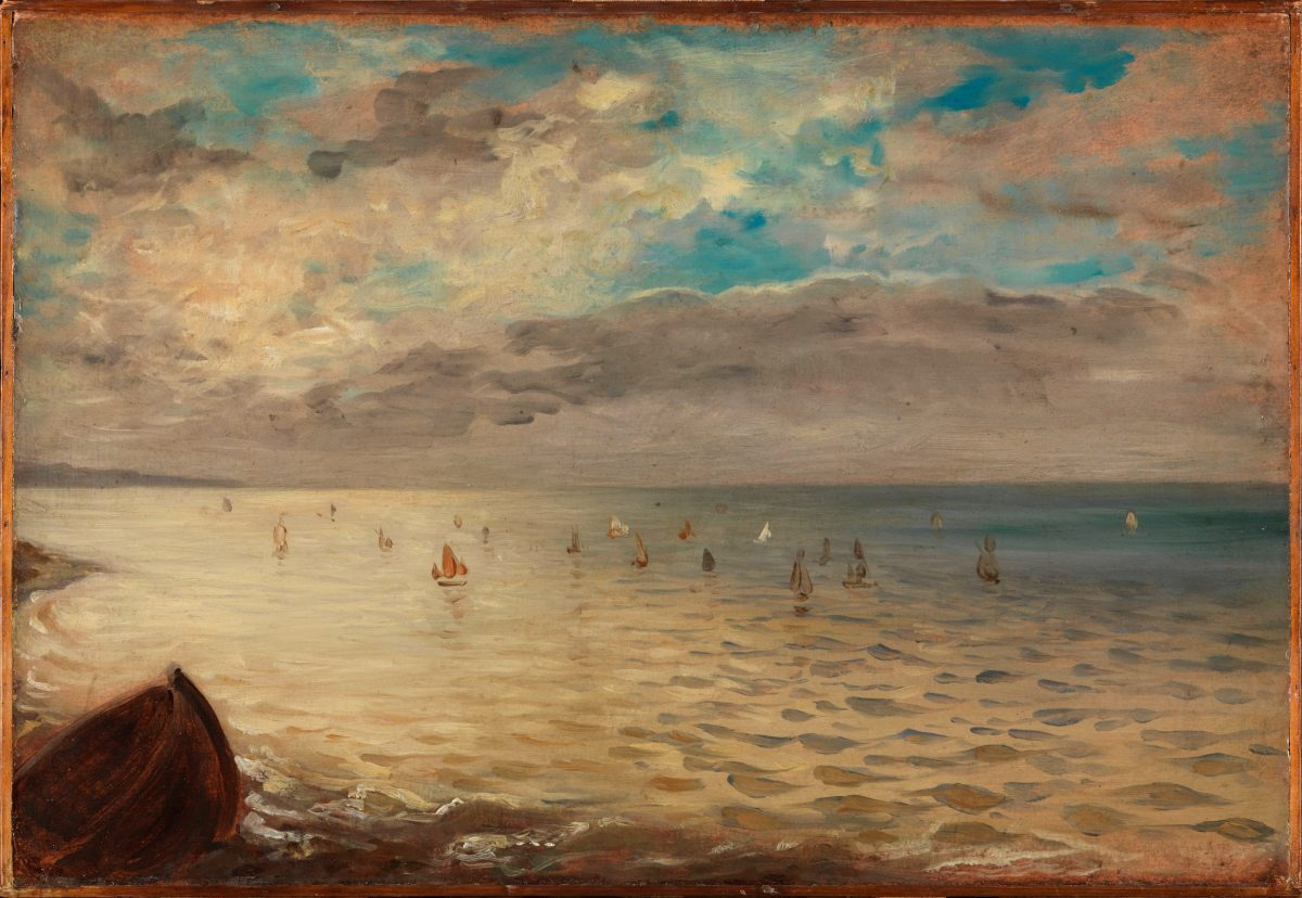 """The Sea at Dieppe,"" 1852, by Eugène Delacroix (French, 1798–1863). Oil on cardboard, laid down on wood. 13 3/4 inches by 20 1/16 inches. Musée du Louvre, Paris, Bequest of Marcel Beurdeley, 1979. (Musée du Louvre, Dist. RMN-Grand Palais / Philippe Fuzeau / Art Resource, NY)"