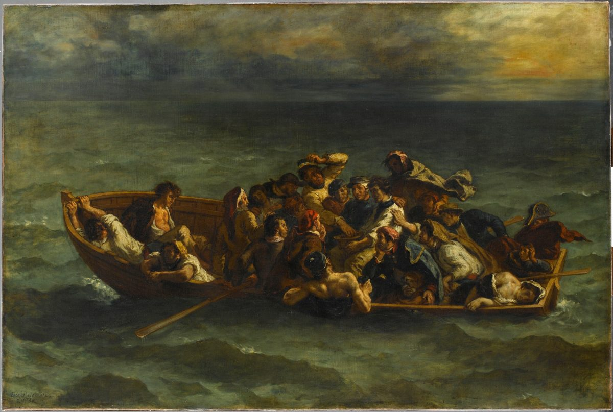 """The Shipwreck of Don Juan,"" 1840, by Eugène Delacroix (French, 1798–1863). Oil on canvas. 53 1/8 inches by 77 3/16 inches. Gerard Blot. Musée du Louvre, Paris, Gift of Adolphe Moreau, 1883. (Art Resource, NY. / Gerard Blot)"