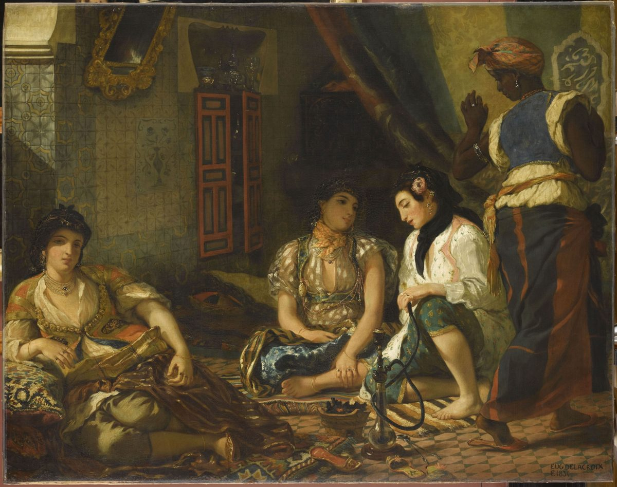 """Women of Algiers in Their Apartment,"" 1834, by Eugène Delacroix (French, 1798–1863). Oil on canvas, 70 7/8 inches by 90 3/16 inches. Musée du Louvre, Paris (RMN-Grand Palais / Art Resource, NY. Photo: Franck Raux)"