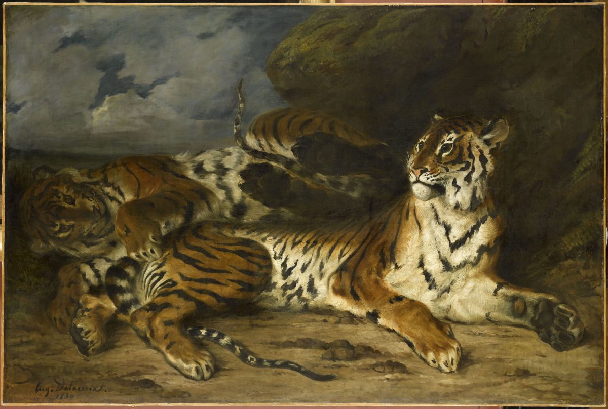 """Young Tiger Playing with Its Mother,"" 1830, by Eugène Delacroix, (French, 1798– 1863). Oil on canvas. 51 inches by 77 inches. Musée du Louvre, Paris. (Musée du Louvre) / Franck Raux)"