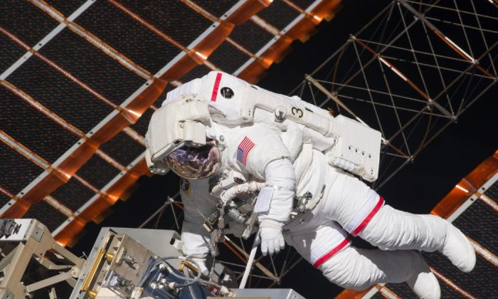 NASA astronaut Andrew Feustel during a six-hour, 19-minute spacewalk outside the International Space Station. (NASA)