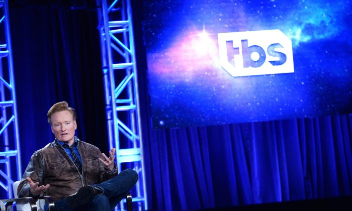 "Executive producer Conan O'Brien of ""Final Space""  during the TBS portion of the TCA Turner Winter Press Tour 2018 Presentation at The Langham Huntington, in  Pasadena, Calif., on Jan. 11, 2018. (Charley Gallay/Getty Images for Turner)"